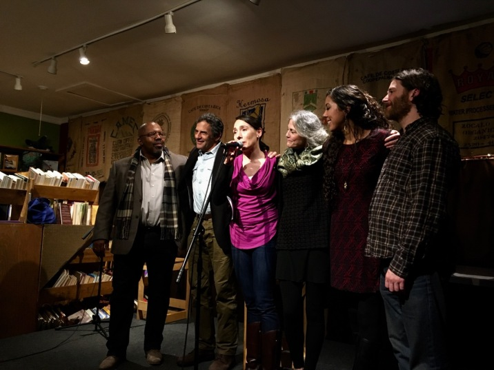 L-R: Indigo Moor, Jordan Fisher Smith, Rachel Howard, Sands Hall, Angela Sells, and Will Dane at the conclusion of UNITED WE STAND.